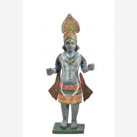 Hoelzerne Krishna Statue ca. 1940 Originalzustand