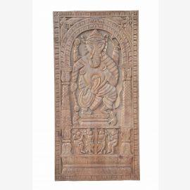 South India 1910 massives geschnitztes Wandbild Panel Gottheit