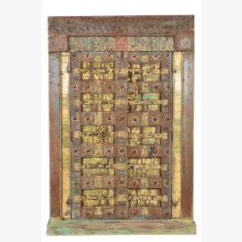 Herrlich bemalter indischer Schrank aus dem Jahr 1870