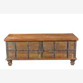 Breite antike Truhe Tisch Bank Altholz Indien Luxury Park