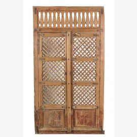 Indische Holztür aus Teakholz mit außergewöhnlichem Rahmen