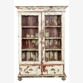 Indien 1870 Schrank Glasvitrine Kabinett weiß shabby chic Gujarat