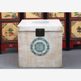 China Würfel Truhe Box kubisch weiße Oberfläche und Blumenmotiv Ulme