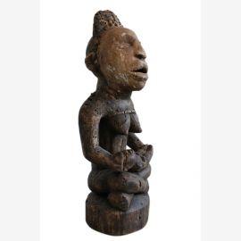 Stamm der Bakongo Yombe, 50cm, Schutzmutter mit Kind, Schutz vor Krankheit, ca. 120-130 Jahre