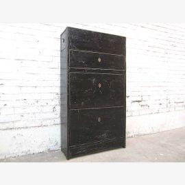 Asien Flur Kommode Schuhschrank schwarz lackiert vintage Holz Gebrauchsspuren