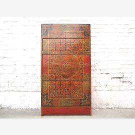 China Tibet farbenprächtige Kommode Schuhschrank vintage Holz aufwändige Bemalung