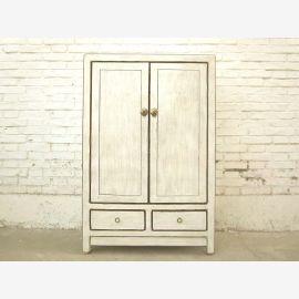 Asien antikweißer halbhoher Schrank vintage Massivholz