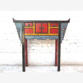 China Sideboard Beistelltisch bunte Farbgebung 100 Jahre alt Ulmenholz