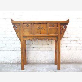 Asien Kommode Sideboard honigbraun antik Ulmenholz