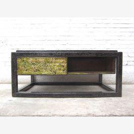 Asien Tisch Sockel shabby chic Pinie schwarz und grün