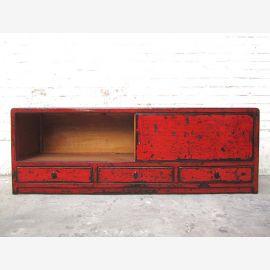 Asien breite Kommode TV Lowboard rotbraun vintage asymetrisch