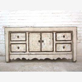 China kleines Lowboard Kommode Antikweiß Vintage look Pinienholz