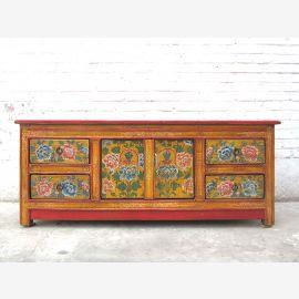 Tibet bunt bemalte Kommode Lowboard Florales Dekor Pinie
