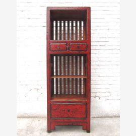 Asien schlanker Regalturm Kommode rotbraun Vintage Stil Pinienholz