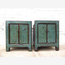 Zwei blauen China Nachtschränke Vintage