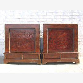 Mongolei zwei Nachttische Kommoden Paar klassisch rotbraun vintage Optik Massivholz