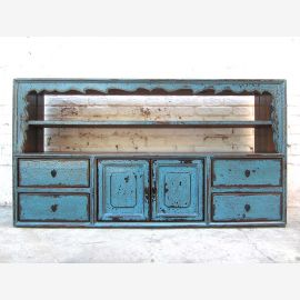 China Tibet vor 1910 Sideboard Regal Anrichte azurblau Pinie