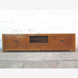 China überbreite TV Kommode Lowboard für Flachbildschirm Antiklook vintage Holz honigbraun