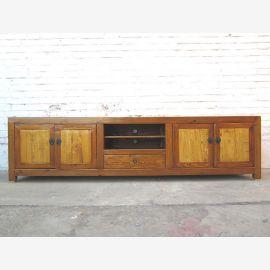 Asien große TV Kommode Lowboard für Flachbildschirm two tone hellbraun vintage Holz