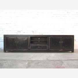 China 2m breite TV Kommode Lowboard für Flachbildschirm antik schwarz Lack Massivholz