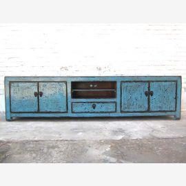 Asien breite TV Lowboard 200cm azurblau shabby chic