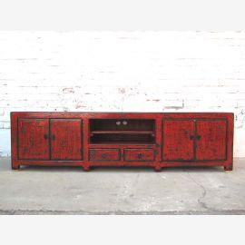 Asien braunrote TV Kommode Lowboard für Flachbildschirm heavy used look vintage Holz
