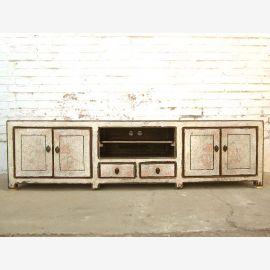 Asien Fernseh Kommode Lowboard für Flachbildschirm antikweiß vintage style Massivholz
