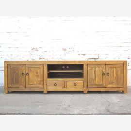Asien breite TV Kommode Lowboard für Flachbildschirm antik vintage Naturholz Landhausstil