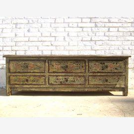 Asien Mongolei rustikale TV Kommode Lowboard für Flachbildschirm vintage Holz florale Bemalung