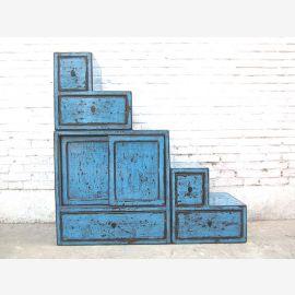 China kleine Stufen Kommode Schubladen azurblau shabby chic