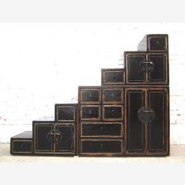 China gestufte Kommode Treppenschrank unter Schrägen vintage Holz schwarzer Lack