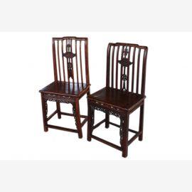 China 1910 Zwei prachtvolle Holzstühle in klassischer Verzierung