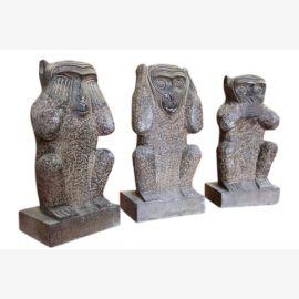 China die 3 drei Affen Granitskulpturen Bildhauerei 70-80J