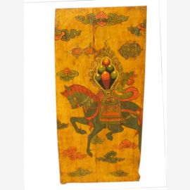 China Tibet um 1910 bemalte Tür Wandbild Reitermotiv