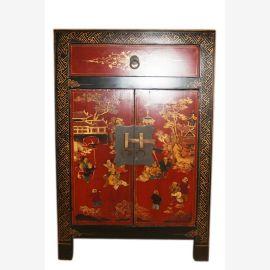 China kleine Kommode Nachtschrank mit Türen klassisch bemalt