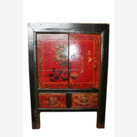 China 1890 Kommode Nachtschrank Schubladen & Türen Kolonialstil