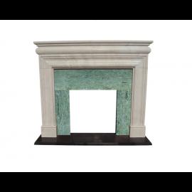 Marmorkamin, klassisch, weiß-grün, massiv Marmor K131