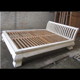 Asien flaches Doppel Bett Antikweiß Vintage Stil Vollholz 200x140x35cm