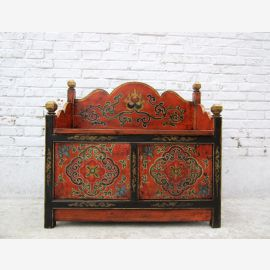 China TIBET old colourful painted pine bench with chest panchina D BT.2