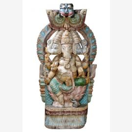Mächtige hölzerne Skulptur großartiges Bildnis des Elefantengotts Ganesha
