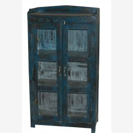 Indien Vitrine Heavy Blue antik Finish