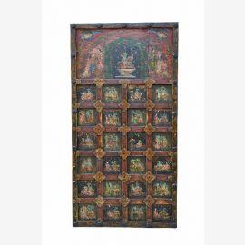 Wunderschön bemalter Deko Panel Türblatt aus Tibet