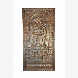 Ganesha Wunderschöner handgeschnitzter Deko Panel Türblatt aus Indien
