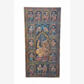 Ganesha, wunderschöner handgeschnitzter Deko Panel Türblatt aus Indien