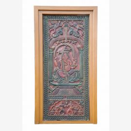 INDIA Rajasthan scarce coloured door panel with Ganesha carving wood D ED-11-32