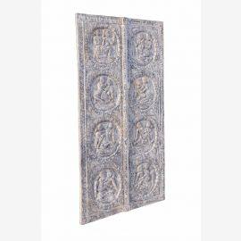 Türblatt mit antiken Kamasutra Motiven Indien Vollholz geschnitzt