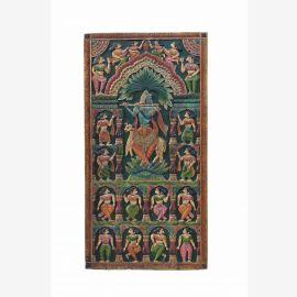 Indien altes Wandbild aus Türblatt mit traditionellem Motiv