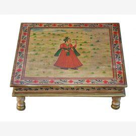 Indien niedriger Tisch Bajot quadratisch feine bemaltes Holz von Luxury Park