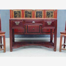 China 1930 schlanker Schreibtisch Desk dunkelbraune Pinie old