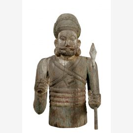 Indien Krieger Statue geschnitzte Halbfigur Skulptur holzfarbig Rajasthan 1940
